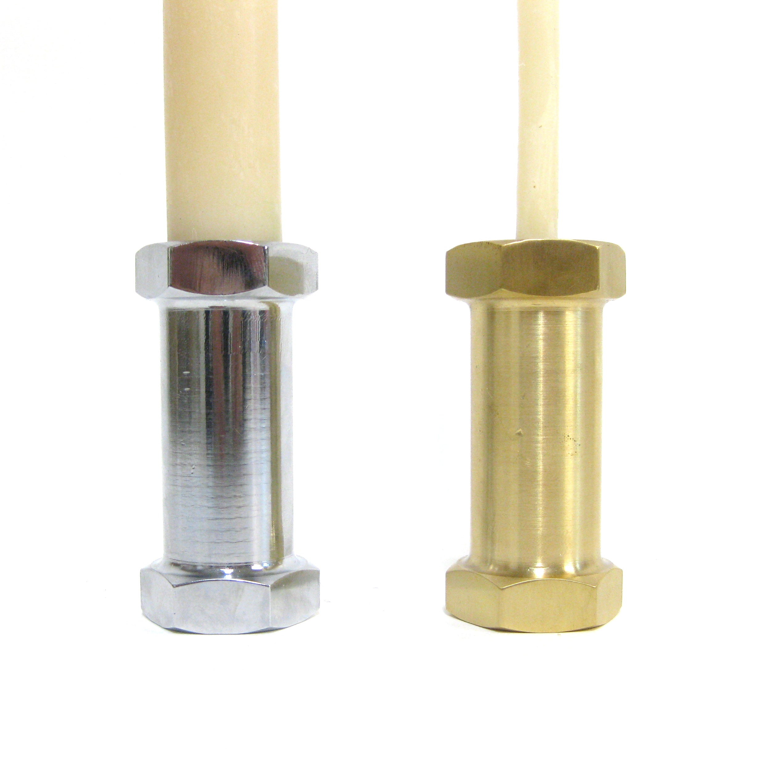 Nickel plated vs Brass Earthing Stubb Candle Holder