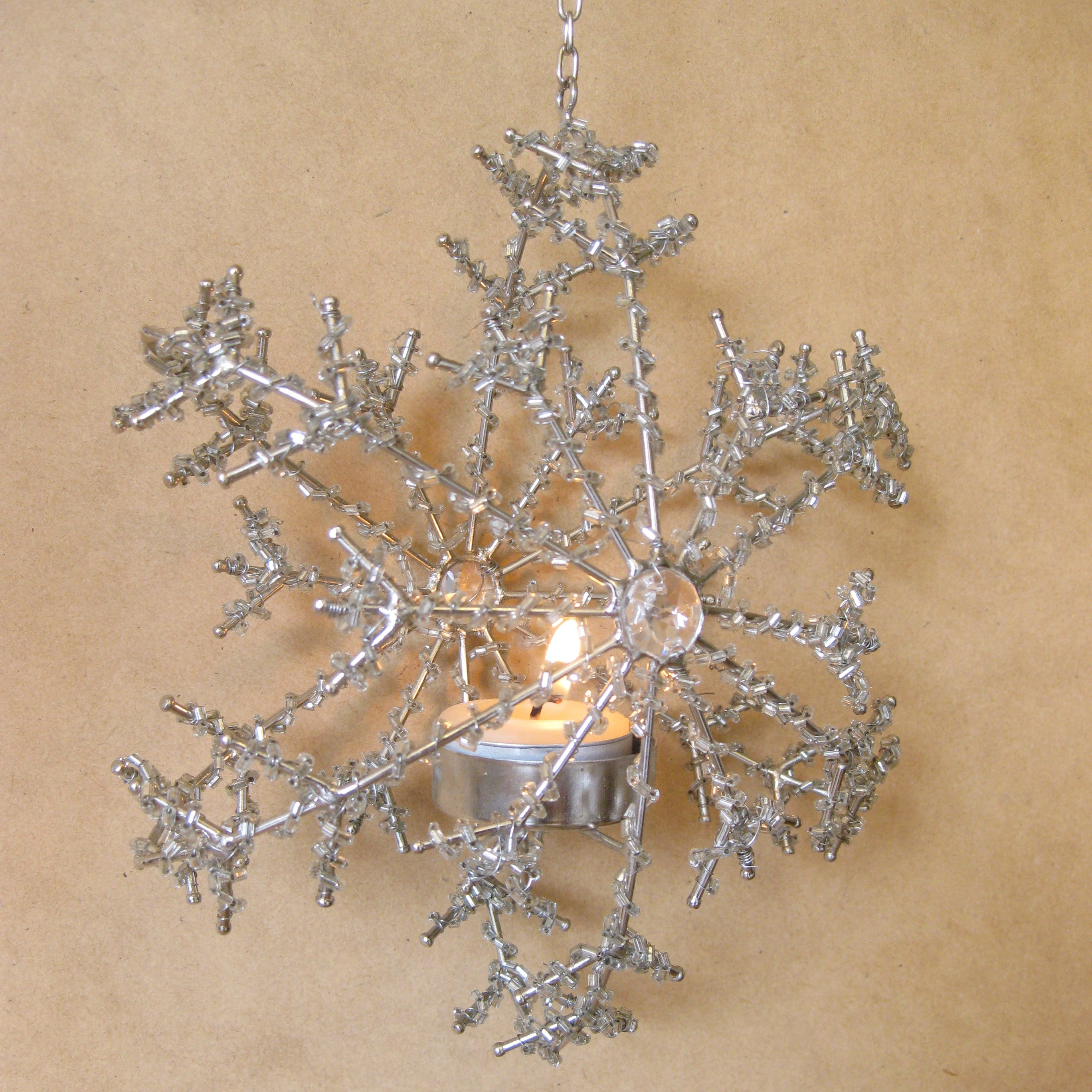 Snowflake beaded tealight holder