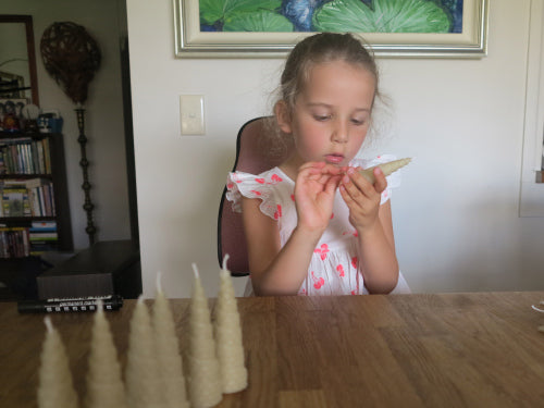DIY Beeswax Christmas Tree candle rolling instructions for 6 year olds