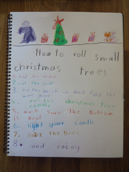 eeswax Christmas Tree candle rolling instructions for 6 year olds