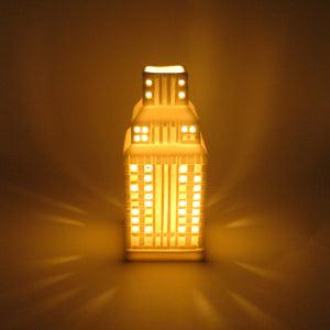 Empire State Building tealight candle holder (lit by Queen B tealight)
