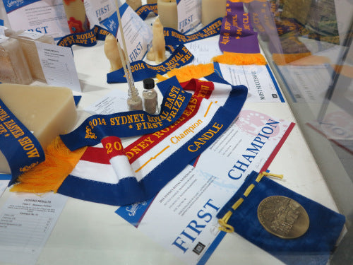 Championship beeswax candle winner at Sydney Royal Show
