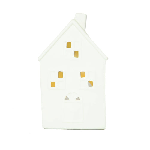 Porcelain candleholder house for tealight candles made from pure bee wax