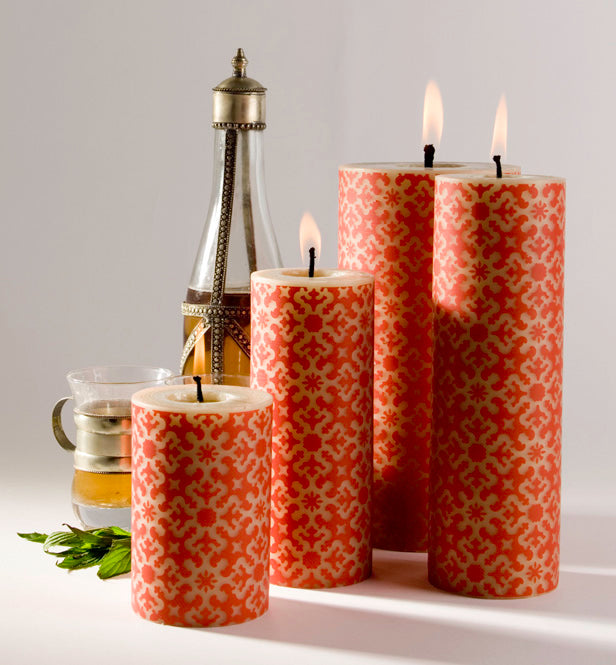 Dinner candle, rolled beeswax pillar candle