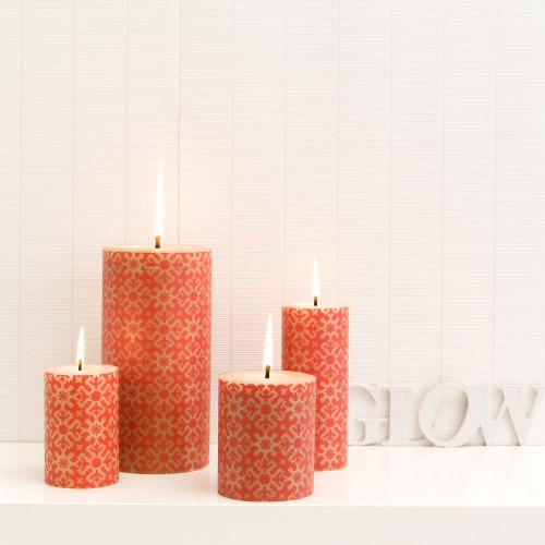 Rolled designer beeswax candle Christmas