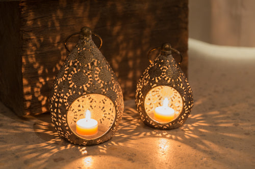 Teardrop lanterns - available in small ($27.50) and large ($34.95)... can be sat on a flat surface