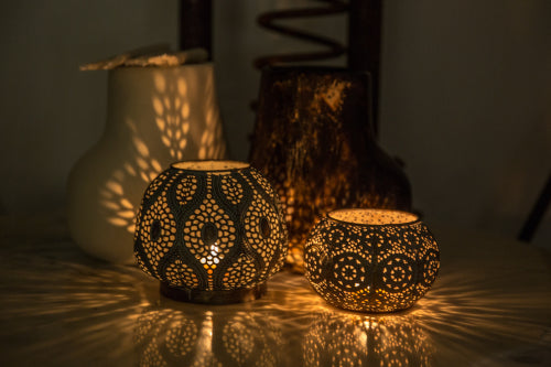 Moroccan Lanterns - casting beautiful patterns on the table surface and surrounding objects