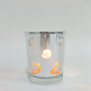 Votive glass clear silver rose