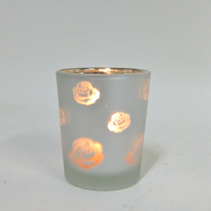 Votive candle rose frosted glass silver