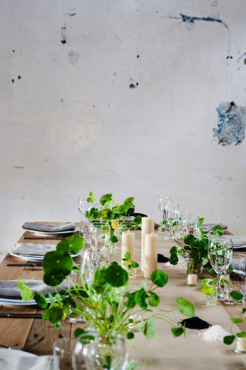 Kinfolk dinner by Katie Marx, A Floral Frenzy, Greg Hatton, photographer Kara Rosenlund at Butterland with Queen B beeswax candles