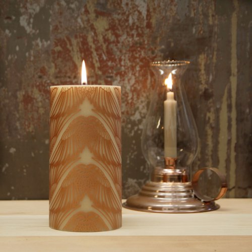 Natural bees wax pillar candle with bronze art deco wing design