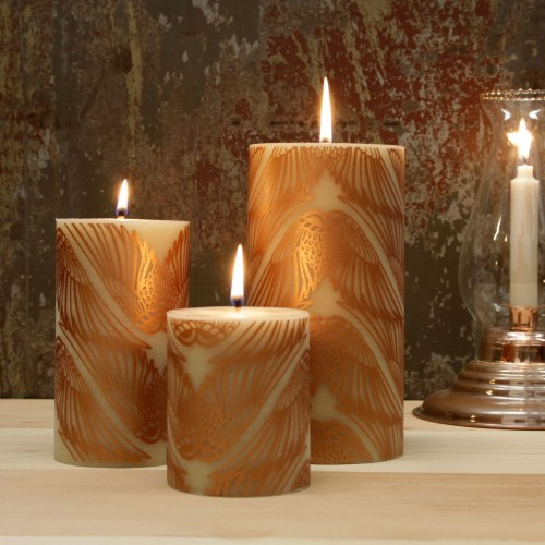 Seraphim art deco wing design in bronze on pure beeswax hand rolled pillar candle Queen B