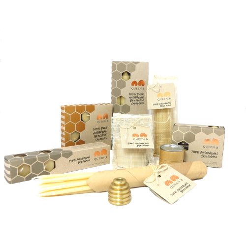 samples of best selling candles from the Queen B range of pure beeswax candles