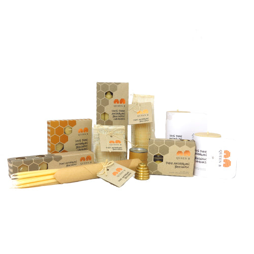 Discounted bees wax candles at cheap prices with beeswax tealight candles, tapers, honeycomb rolled pillar candles and dinner candles