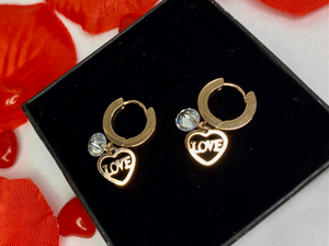 Love Heart earrings in rose gold with Crystal