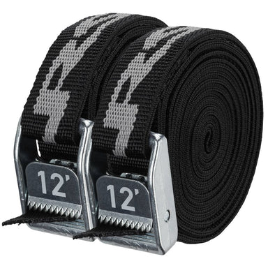 "NRS, Inc 1"" Heavy Duty Straps Stealth Black 12' Pair - Gear For Adventure"