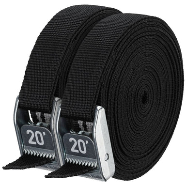 "NRS, Inc 1"" Heavy Duty Straps Stealth Black 20' Pair - Gear For Adventure"
