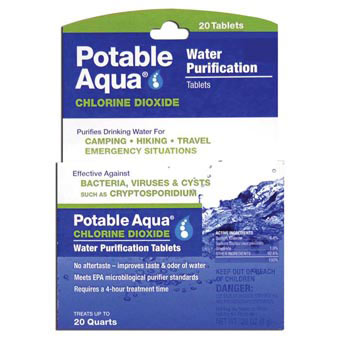 Potable Aqua Chlorine Dioxide Tablets 20 PK