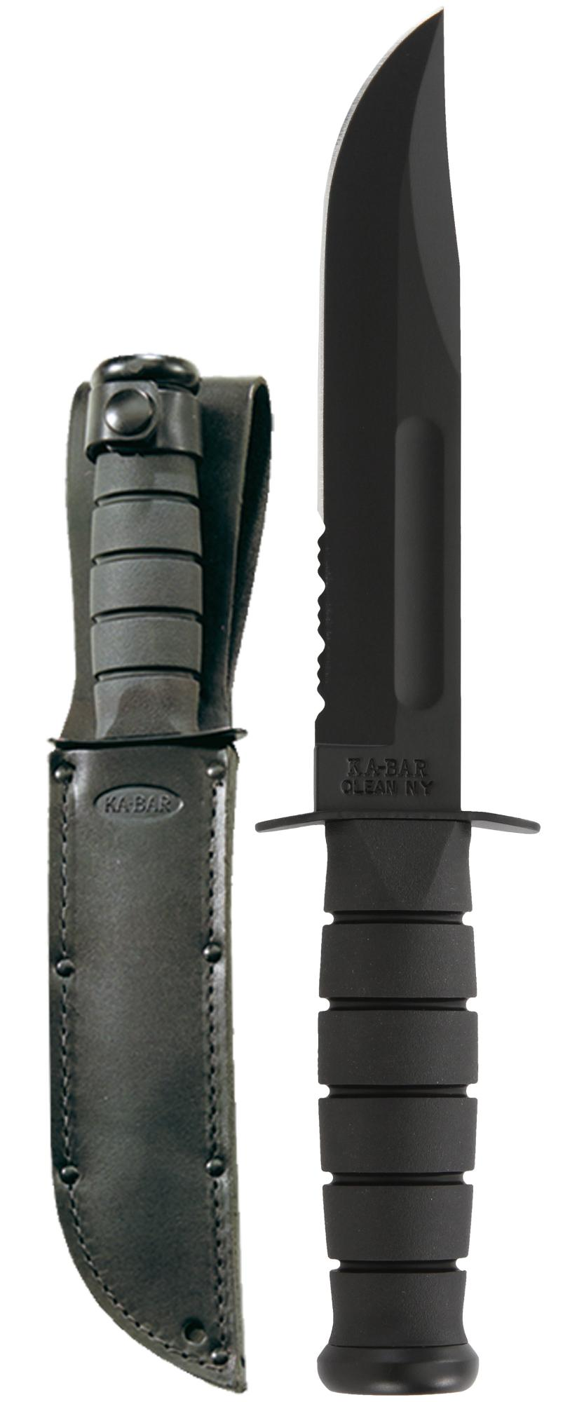 KABAR USMC Black Serrated Knife with Leather Sheath - Gear For Adventure