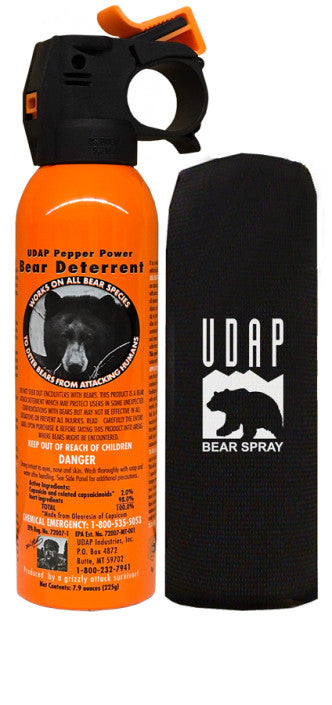 UDAP 12VHP Safety Orange Bear Spray with Hip Holster 7.9oz