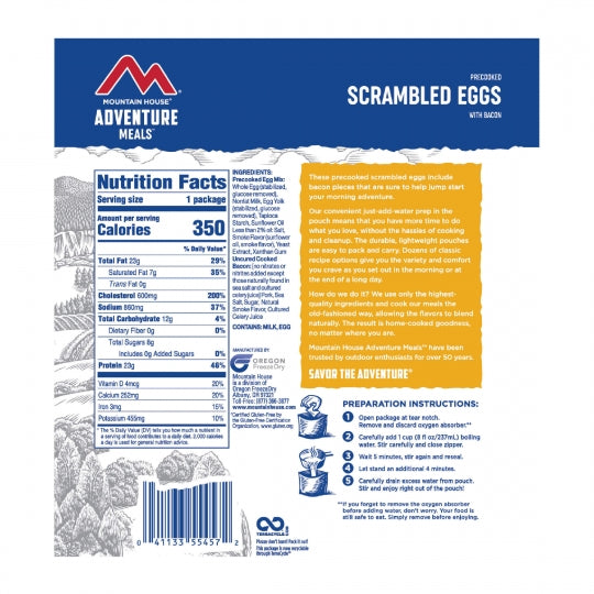 Mountain House Scrambled Eggs/Bacon Clean Label - Gear For Adventure
