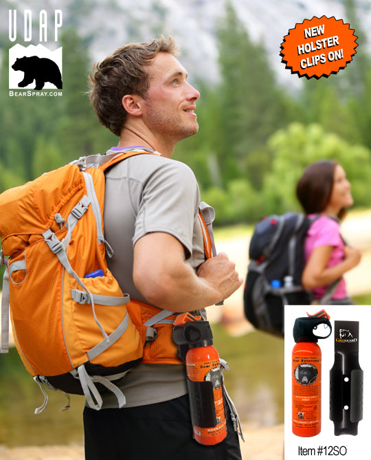 UDAP 12SO Safety Orange Bear Spray with Griz Guard Holster 7.9oz - Gear For Adventure