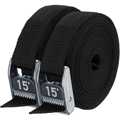 "NRS, Inc 1"" Heavy Duty Straps Stealth Black 15' Pair - Gear For Adventure"