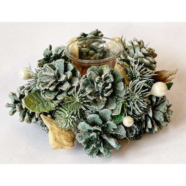 Green Fir and Pine Cone Candle Holder