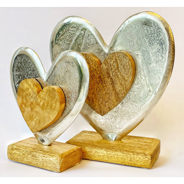 Metal and Wooden Hearts