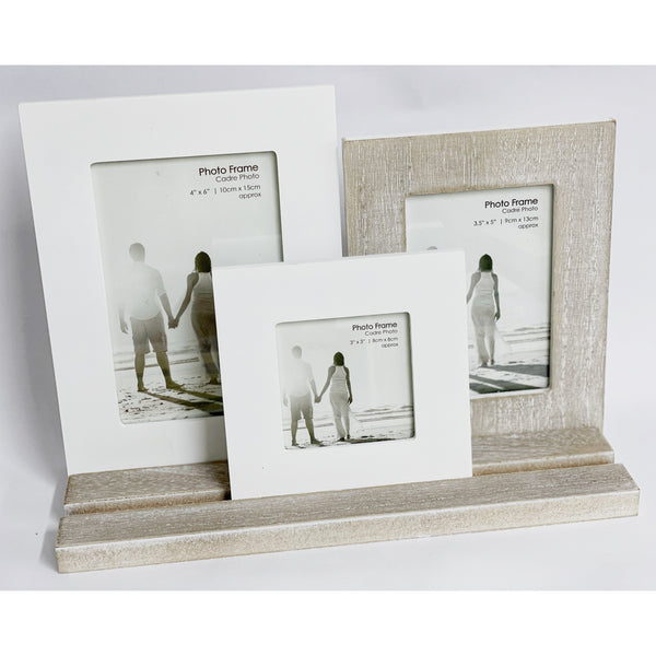 Wooden and White 3 Picture Frames on a Tray