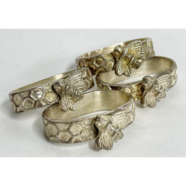 Bees and Honeycomb Napkin Rings Set of 4 (Hallmarked Silver)