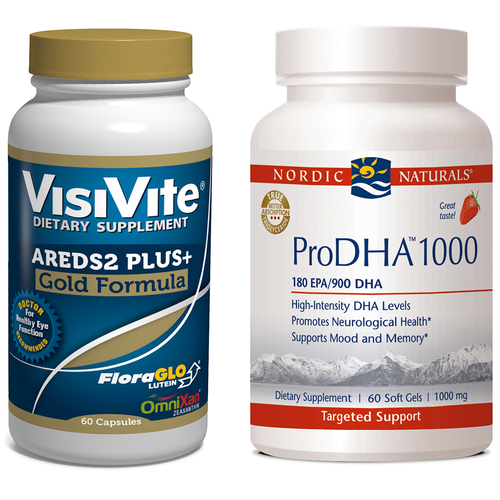 VisiVite AREDS2 Gold Plus+ and Nordic Naturals ProDHA 1000 Combo Pack- 1 month supply