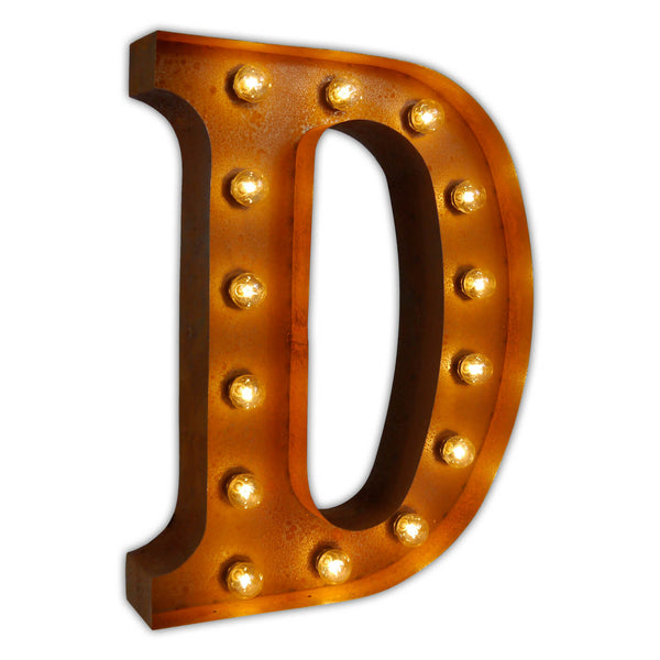 VINTAGE MARQUEE LETTER LIGHT D IN CIRCUS FAIRGROUND STYLE WITH LIGHTBULBS