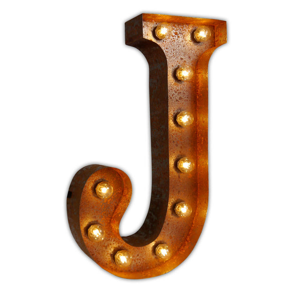 VINTAGE MARQUEE LETTER LIGHT J IN CIRCUS FAIRGROUND STYLE WITH LIGHTBULBS