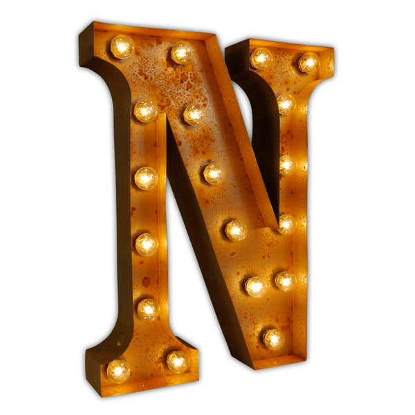 VINTAGE MARQUEE LETTER LIGHT N IN CIRCUS FAIRGROUND STYLE WITH LIGHTBULBS