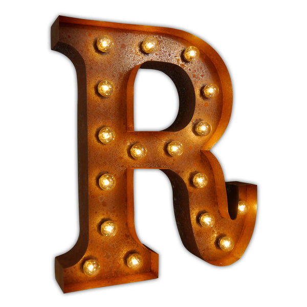 VINTAGE MARQUEE LETTER LIGHT R IN CIRCUS FAIRGROUND STYLE WITH LIGHTBULBS