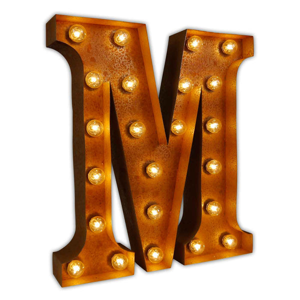 VINTAGE MARQUEE LETTER LIGHT M IN CIRCUS FAIRGROUND STYLE WITH LIGHTBULBS