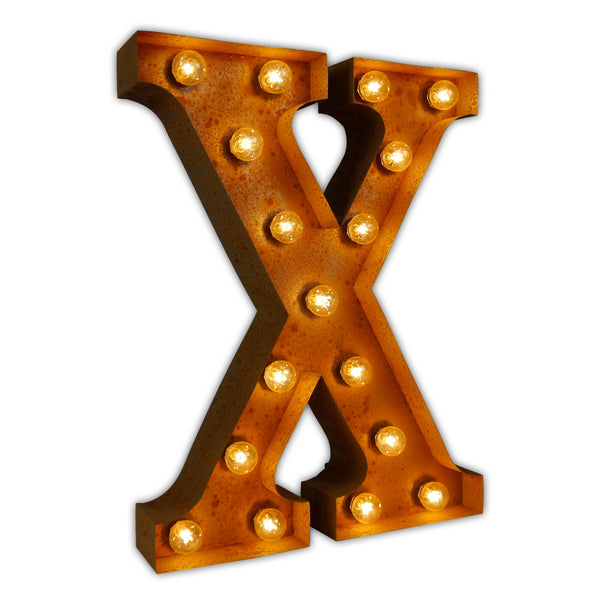 VINTAGE MARQUEE LETTER LIGHT X IN CIRCUS FAIRGROUND STYLE WITH LIGHTBULBS