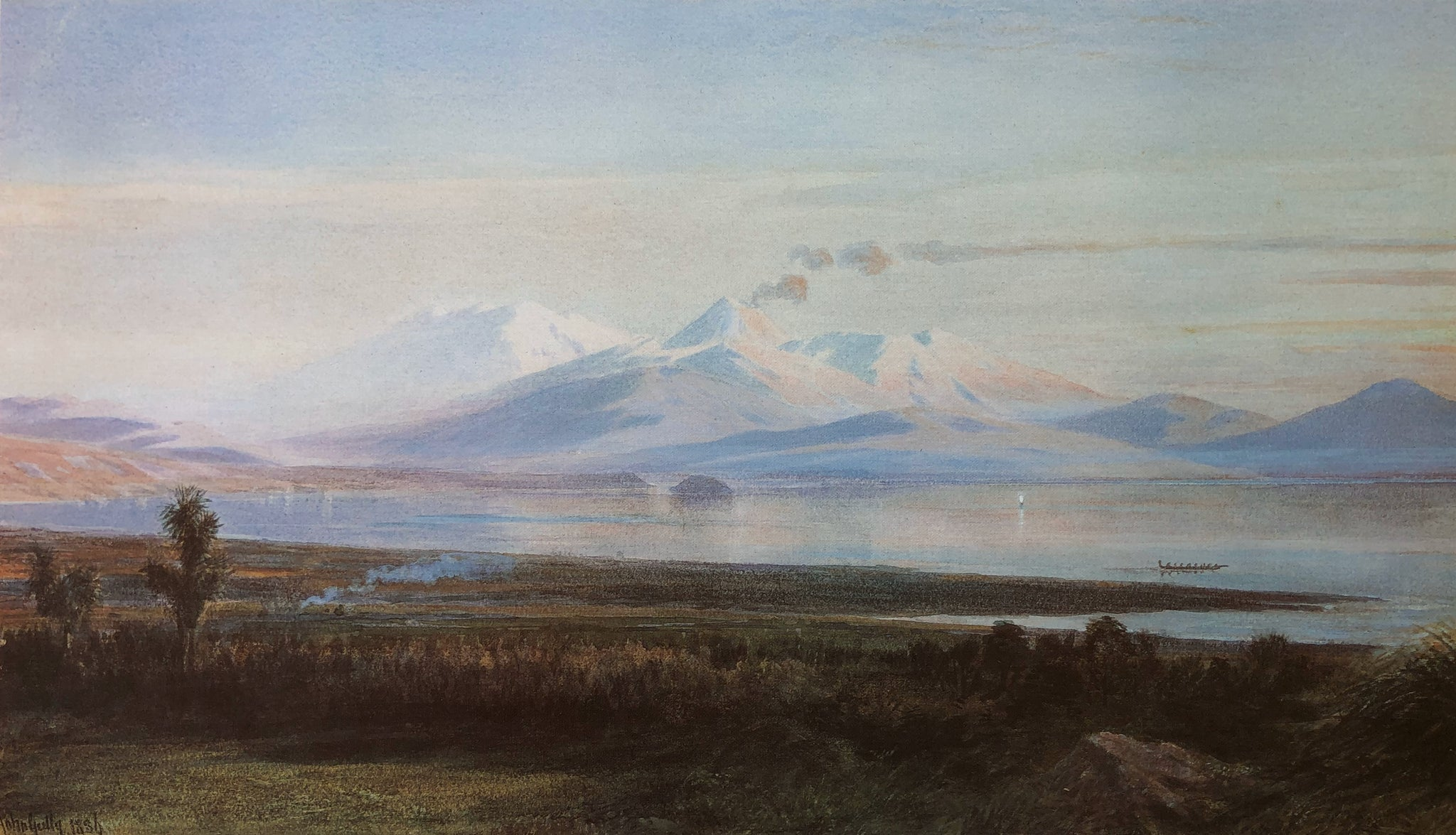"""Mt. Ruapehu from Lake Taupo"", 1886 - John Gully"