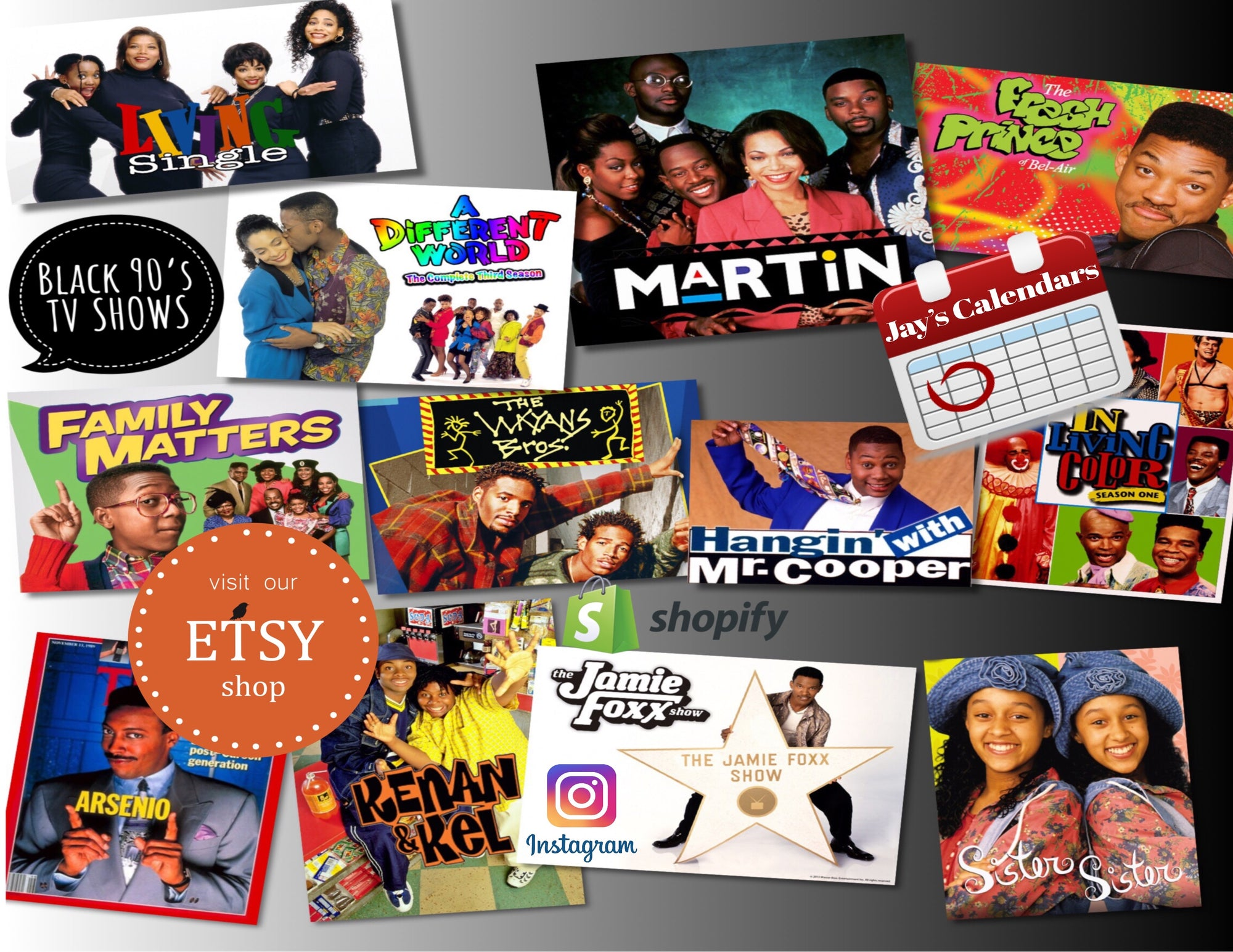 Black 90s TV Shows 2021Calendar