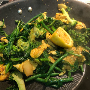 Chicken & Vegetable Stir Fry + Lemon Tart