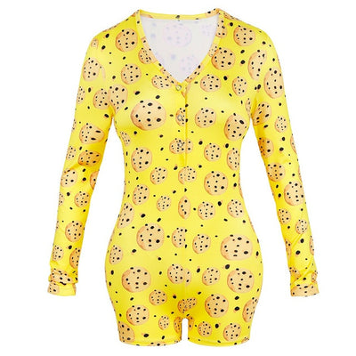 Queen Crown Print Sexy Onesies Pajamas For Adults Women Onsie Pijama Sleepwear Short Jumpsuit Nightwear Lingerie Plus Size