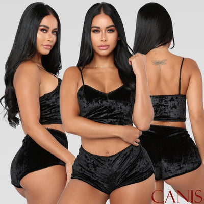 Womens 2Pcs Velvet Pajamas Set Sleepwear 2020 Fashion Sexy Spaghetti Strap Shorts Pajama Set Ladies Sleepwear female Nightwear
