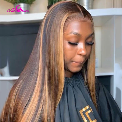 HIGHLIGHT COLORED HUMAN HAIR WIG PRE-PLUCKED LACE FRONT FOR BLACK WOMEN