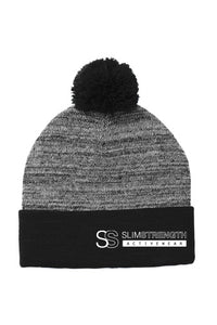 SS Branded Pom Pom Beanie - SlimStrength ActiveWear - Apparel with Purpose