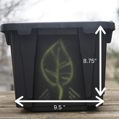 bin with dimensions front