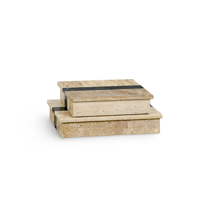 Griffith Travertine Boxes, Set of 2