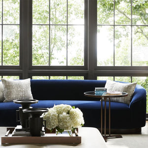 Turner Sofa Indigo Velvet Dark Walnut