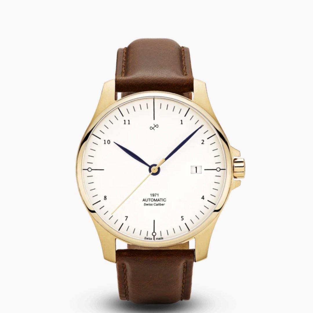 1971 Automatic Watch | Gold/White | Swiss Made - Suzie Anderson Home