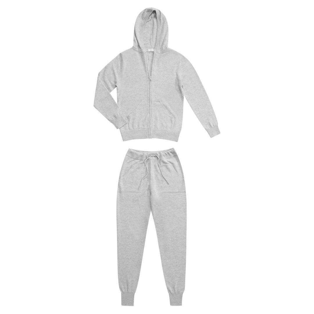 Jac | Pure Cashmere 2 Piece Tracksuit | Grey | Medium - Suzie Anderson Home